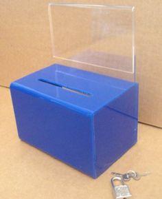 Blue Donation Box w/ Indicator Holder and Lock