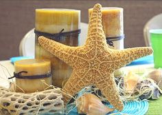 Starfish beach theme baby shower centerpieces