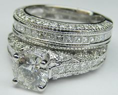 Engagement Ring - Vintage Three Side Pave Engagement Ring & Matching Wedding Ring in White Gold