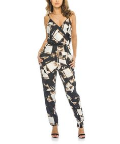 Another great find on #zulily! Black & White Geometric Jumpsuit #zulilyfinds