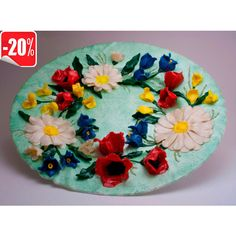 """Wall Decorative Plate """"Wreath"""" kitchen wall art decor Flowers made of... ($36) ❤ liked on Polyvore featuring home, home decor, handcrafted home decor, round plate, handmade wreaths, handmade home decor and polish plate"""
