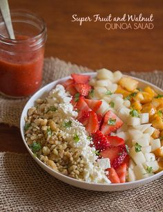 Super Fruit and Walnut Quinoa Salad - This Gal Cooks. Around 200 calories per serving. #healthy #glutenfree #salad
