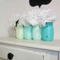 ♥ You will receive 4- Hand Painted Pint Mason Jars. ♥ Sealed for easy hand cleaning ( I recommend cleaning with a damp cloth). ♥ These are painted in the Seafoam Collection, but if you would like different colors, please let me know. I can do them in any color. ♥ Perfect for flowers & make great centerpieces for weddings! ♥ Flowers are not included. ♥ Any questions, please contact me here on Etsy, or email to countrylivingatheart1@yahoo.com.  ♥♥ Thanks so much for looking!!  ♥♥♥ Wholesale…