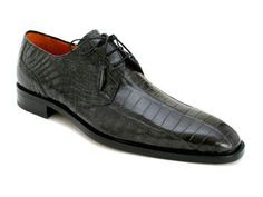 Mezlan Platinum Brut Black Genuine Alligator Shoes