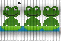 Tricksy Knitter Charts: frogs 3 by SM Cross Stitch Bookmarks, Cross Stitch Borders, Cross Stitch Baby, Cross Stitch Animals, Cross Stitch Charts, Cross Stitching, Cross Stitch Patterns, Fair Isle Knitting Patterns, Knitting Charts