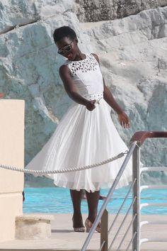 Lupita Nyong'o in a white Oscar de la Renta dress at Cannes 2015