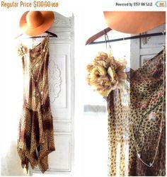 Sale Gypsy Goddess Dress, Bohemian leopard slip dress, Boho dresses, Stevie Nicks Style, Vagabond wanderer, Romantic, True Rebel clothing