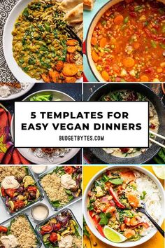 No matter what ingredients you have on hand, you'll be able to make a fast and easy dinner with one of these 5 templates for easy vegan dinners. Budgetbytes.com Chickpea And Spinach Curry, Roasted Cauliflower Salad, Roasted Vegetable Salad, Vegan Dinners, Lunches And Dinners, Vegetarian Recipes, Healthy Recipes, Vegetarian Options, Vegetarian Cooking
