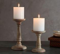Ashton White Wash Wood Pillar Holder | Pottery Barn