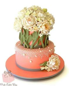 Beautiful wedding cake with fondant flowers....