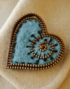 Light turquoise blue felt and zipper heart by woollyfabulous
