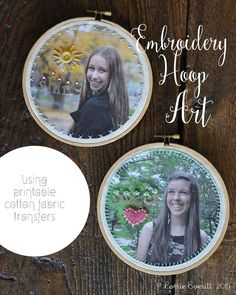 embroidery hoop art using printable cotton fabric transfers | Lorrie Everitt Studio
