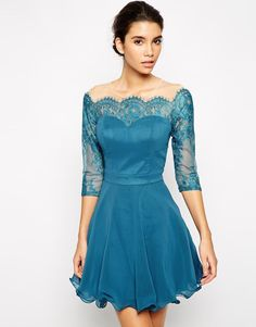 Chi Chi London | Chi Chi London Lace Prom Dress with Lace Bardot Neck at ASOS