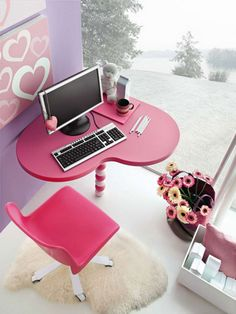 bedroom teens bedroom cool girl room with computer on pink heart table and pink chair on white rug 17 cool room designs for teenage girls