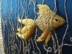 "178 Likes, 6 Comments - Elena Ciarrocchi (@elenaciarrocchiembroidery) on Instagram: ""GOLDFISH on silk and jute #Handembroidery #embroidery #goldwork #goldfish #craft #embroideryart"""