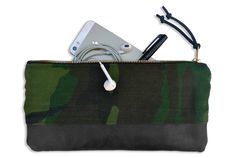 PENCIL & SUPPLY POUCH: Camouflage & Black Leather