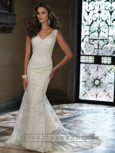 Sleeveless Fit and Flare V-neck Wedding Dresses with Illusion Lace Back