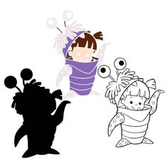Monsters Inc Boo SVG DXF Monstropolis Vector Cut Files Cricut Design Silhouette Cameo Printable Stencil Template Party Supplies Vinyl Decal Disney Stencils, Free Stencils, Stencil Templates, Cricut Explore Projects, Vinyl Projects, Welding Projects, Disney Silhouette Art, Silhouette Cameo, 3d Cuts