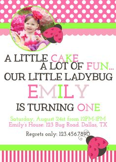 Pink and Lime Green Lady Bug 1st Birthday Invitation by CharmPaper, $12.00