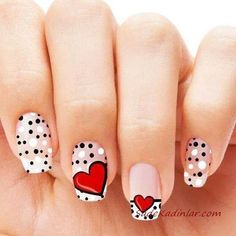 There are various materials out there for painting nail art. Marine nail art can cause you to look really cool. Acrylic nail art can definitely add to the woman's beautification. Heart Nail Designs, Valentine's Day Nail Designs, Pedicure Designs, Simple Nail Designs, Pedicure Ideas, Heart Nail Art, Dot Nail Art, Heart Nails, Simple Nails