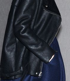 Indigo felt and Black leather from Acne