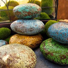 Paper Mache Decorative Accent Stones Rustic Crackled by artspell, $49.00