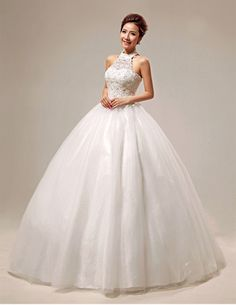2014 spring sleeveless sequin halter wedding dress ball gowns plus size free shipping tulle $230.78