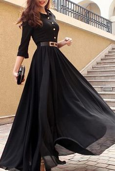 Black Turndown Collar Maxi Dress with Button Decorated