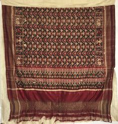 A Weaver's Heirloom Patan Patola Sari Indian Textiles, Vintage Textiles, Rare Antique, Antique Art, Weaving Textiles, Ikat, Precious Metals, Textile Art, Decor Styles