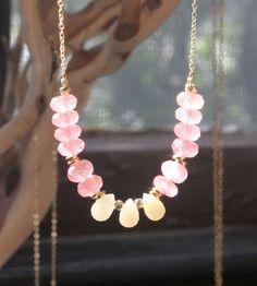 Cherry Quartz & Yellow Jade Stone Necklaces