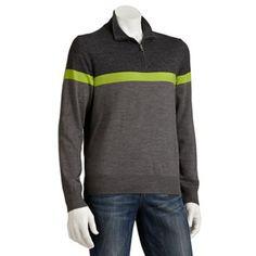 Apt. 9 Merino 1/4-Zip Striped Sweater - Men