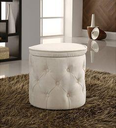 Furniture:Tall Storage Ottoman Tall Round Storage Ottoman Tufted Fabric Beige White Cocktail Ottoman