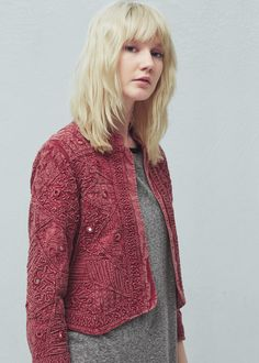 Chaqueta textura algodón -  Mujer | MANGO