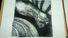 Alien print. Printed in ink from a mount board plate.