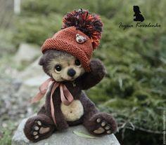 Купить Митенька - коричневый, медведь, медвежонок, медведь игрушка, медвежата, валяная игрушка, игрушка из шерсти