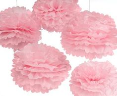 Large Pink Tissue Pom Poms as bridal shower decor www.papersource.com