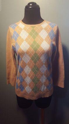 J.Crew 100% Cashmere Camel Blue Green Crewneck Argyle Thin Knit Sweater S Euc #JCrew #Crewneck #daystarfashions $34
