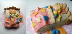 Little girl sleeping in bed cake