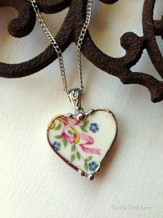 Broken China Jewelry heart pendant necklace forget me nots, pink ribbon