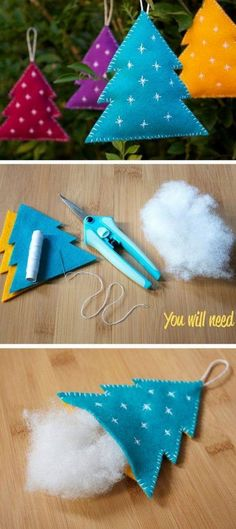 Felt Christmas Decorations 20 Easy DIY Christmas Crafts To Try This Christmas DIY Weihnachten 20 Easy DIY Christmas Crafts To Try This Christmas Felt Christmas Decorations, Felt Christmas Ornaments, Noel Christmas, Diy Ornaments, Diy Christmas Tree Decorations, Christmas Movies, Christmas Music, Christmas Things, Christmas Tree Template