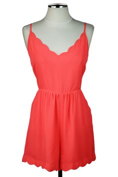 Neon Coral Scalloped Romper — The Impeccable Pig Online Boutique