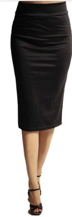 Classic Black Stretch Pencil Skirt