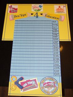 The board I designed to help track how many box tops each class bring in.