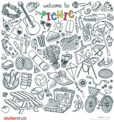 Summer Picnic Doodle Set. Various Meals, Drinks, Objects, Sport Activities. Vector Illustration Isolated Over White Background. - 275335952 :…