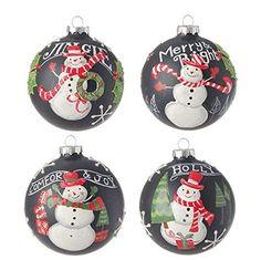 "4"" Snowman Ball Ornaments - Set of 4 -  Price : $55.95 http://www.perfectlyfestive.com/RAZ-Imports-Snowman-Ball-Ornaments/dp/B00MN4ZXCG"
