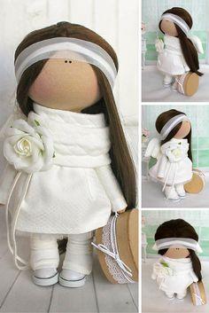 Rag doll Textile doll Fabric doll Handmade doll Soft doll Love doll white color…