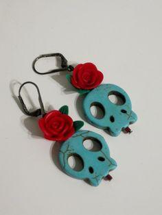 Sugar skull Earrings by QUEENBEADER on Etsy, $21.25