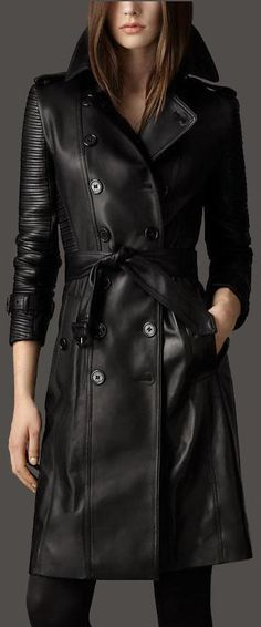 Black Double-Breasted Faux-Leather Trench Coat