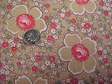 """Vintage Antique Cotton Quilt Doll Fabric Print 1920s Tiny Roses RED + 36"""" Wide"""