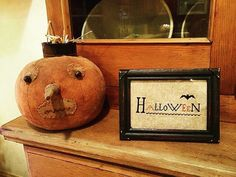 Pumpkin by Stacee Droit Fall Halloween, Halloween Crafts, Halloween Decorations, Halloween Ideas, Primitive Pumpkin, Primitive Folk Art, Fall Cross Stitch, Fall Harvest, Harvest Time